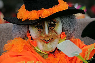 Swiss folklore - Modern Fasnacht costume from Basel. Fasnacht, a mixture of Christian and pre-Christian beliefs, is a pre-Lenten Carnival.