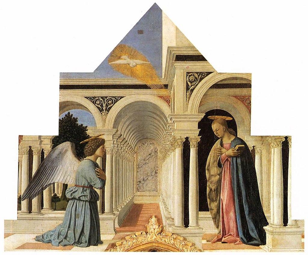 Пьеро делла Франческа - Полиптих Святого Антония - Благовещение - WGA17467.jpg