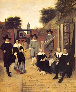 <i>Group portrait of an unknown family or company</i> painting by Pieter de Hooch
