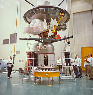 Pioneer 10 - Pioneer 10 on a Star-37E kick motor just prior to being encapsulated for launch