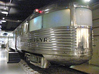 Passenger car (rail) - The observation car from the CB&Q's Pioneer Zephyr.  The carbody was made of stainless steel in 1934; it is seen here at Chicago's Museum of Science and Industry in 2003.