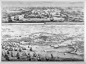 Siege of La Rochelle - The Siege of La Rochelle (map), Stefano della Bella, 1641