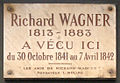 Plaque Richard Wagner, 14 rue Jacob, Paris 6.jpg