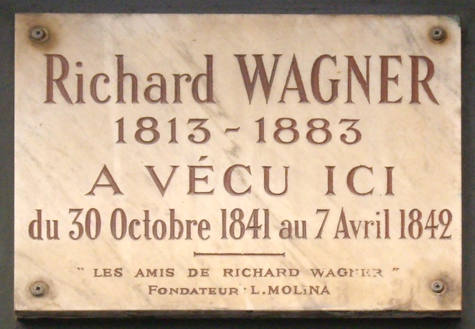 Plaque Richard Wagner, 14 rue Jacob, Paris 6