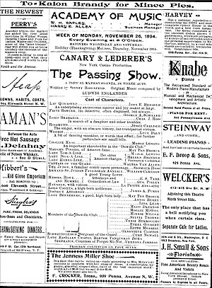 The Passing Show - Playbill for The Passing Show on tour in 1894