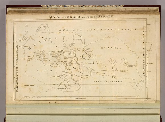 Playfair, Principal. Map of the World According to Strabo. 1814