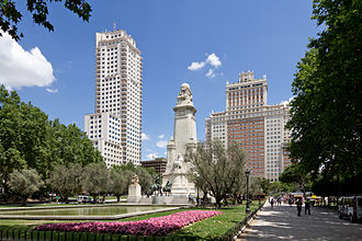 Plaza de España (Madrid) - The Torre de Madrid (left), Cervantes Monument (center), and the Edificio España (right)