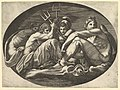 Pluto, Neptune, Minerva and Apollo, from a series of eight compositions after Francesco Primaticcio's designs for the ceiling of the Ulysses Gallery (destroyed 1738-39) at Fontainebleau MET DP821333.jpg