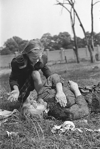 Polish girl lying dead after being strafed by German dive bombers, September 1939 Polish victim of German Luftwaffe action 1939.jpg