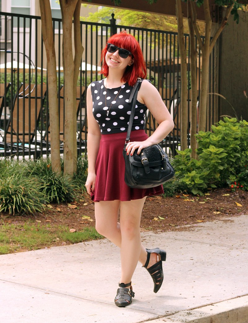 Polka Dot Sleeveless Top, Maroon H&M Skater Skirt, Cutout Ankle Boots, and a Black Lace Purse (22061303870)