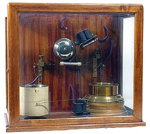 Alexander Stepanovich Popov - One of Popov's receivers, with chart recorder (white cylinder) to record lightning strikes