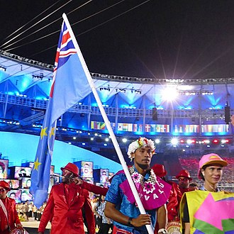 Tuvalu at the Olympics - Etimoni Timuani during the Parade of Nations in the 2016 Summer Games in Rio.
