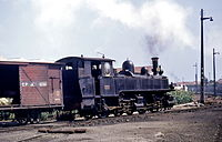 Portuguese Railways Mallet locomotive No. E168 at Povoa da Varzim, August 1970