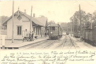 New Canaan station - A 1906 postcard depicting New Canaan.