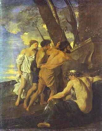 Et in Arcadia ego - Poussin's 1627 version of the Arcadian Shepherds, in Chatsworth House, depicting a different tomb with the same inscription.
