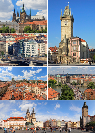 Prague - Montage of Prague, clockwise from top: Old Town Hall, Charles Bridge, Old Town Square, the Malá Strana, the Dancing House, St. Vitus Cathedral