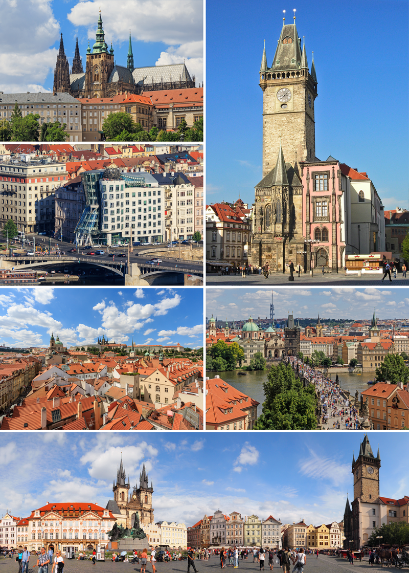 Montage of Prague, clockwise from top: Old Town Hall, Charles Bridge, Old Town Square, the Malá Strana, the Dancing House, St. Vitus Cathedral