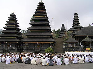 Thatching - The multi-tiered Meru towers of Besakih temple, Bali, uses black ijuk fibres.