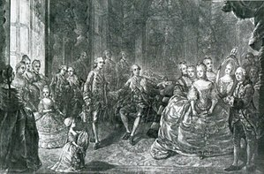 Child marriage - Presentation of Marie Antoinette to Louis Auguste at Versailles, before their marriage. She was married at age 15, on 16 May 1770.