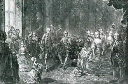 Presentation of Marie Antoinette to Louis Auguste at Versailles, before their marriage. She was married at age 15, on 16 May 1770. Presentation of the portrait of Maria Antonia of Austria (Marie Antoinette) to Louis Auguste, Dauphin of France in front of Louis XV and the court at Versailles.jpg