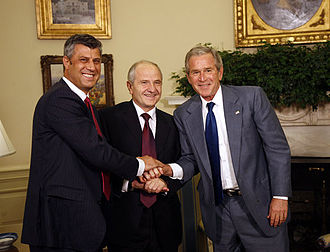 Hashim Thaçi - US President George W. Bush shakes hands with Kosovo President Fatmir Sejdiu (center) and Kosovo Prime Minister Hashim Thaçi (left) during a meeting in the White House on 21 July 2008, after Kosovo declared independence.