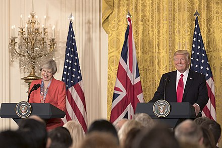 May and Donald Trump in Washington, D.C., January 2017 President Donald Trump and PM Theresa May Joint Press Conference, January 27, 2017.jpg
