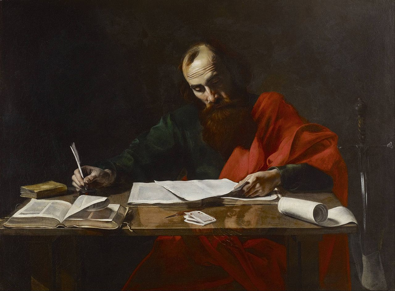 Paiting of the Apostle Paul writing his epistles, by Valentin de Boulogne