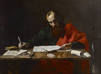 Paul Writing His Epistles, painting attributed to Valentin de Boulogne, 17th century Probably Valentin de Boulogne - Saint Paul Writing His Epistles - Google Art Project.jpg