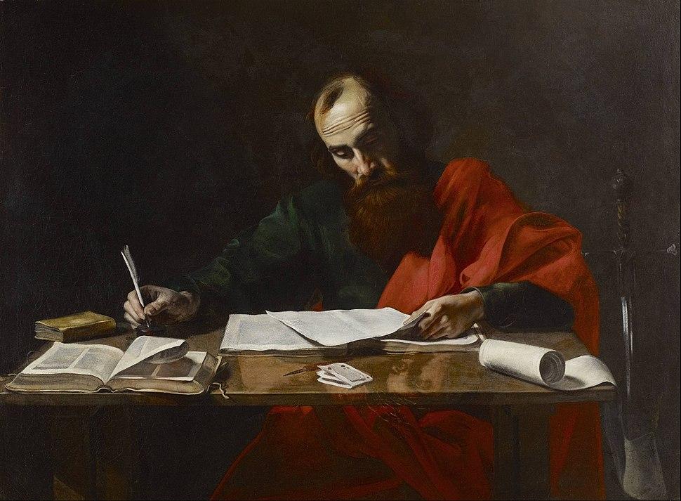 Probably Valentin de Boulogne - Saint Paul Writing His Epistles - Google Art Project