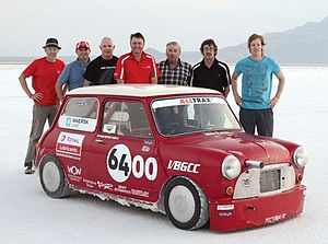 Project 64 (Mini Cooper) - Project '64 at Bonneville flats, along with some support crew.