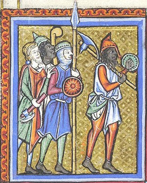 Bardiche - Image: Psalter Hours of Guiluys de Boisleux, Morgan M.730, fo.14v, 1246 1250