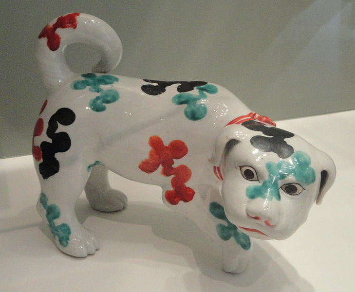 File:Puppy, c. 1680, Arita, hard-paste porcelain with overglaze enamels - Gardiner Museum, Toronto - DSC00489.JPG