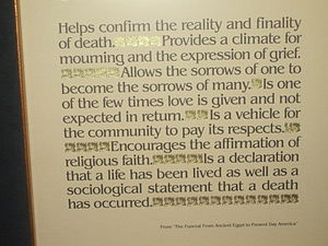 "Funeral home - Reasons for funerals,  from ""The Funeral from Ancient Egypt to Present-day America"", posted at Resthaven Memorial Park; click to read."
