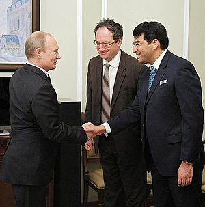 World Chess Championship 2012 - Russian President Vladimir Putin meets Anand and Gelfand after the competition.