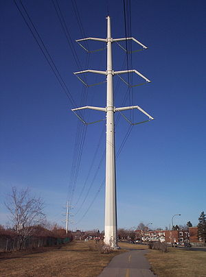 Electric power industry - High tension line in Montreal, Quebec, Canada