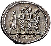 Denarius of Brutus, 54 BC, showing the first Roman consul, Lucius Junius Brutus, surrounded by two lictors and preceded by an accensus.[1] of Rome