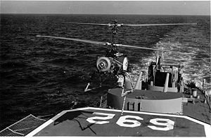 Gyrodyne QH-50 DASH - A QH-50C hovers over the destroyer USS Allen M. Sumner (DD-692) during a deployment to the Mediterranean Sea in 1969.