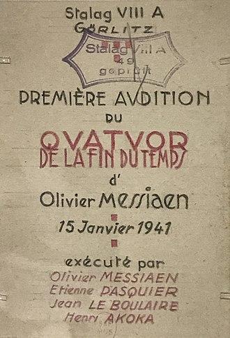 Quatuor pour la fin du temps - Invitation to the premiere