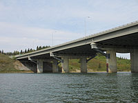 The Quesnell Bridge, built in 1968, carries Highway 2 over the North Saskatchewan River in central Edmonton