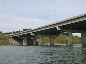 Alberta Highway 2 - The Quesnell Bridge, built in 1968, carries Highway 2 over the North Saskatchewan River in central Edmonton