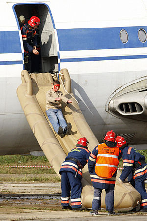 Evacuation slide - Evacuation slide used in an emergency drill