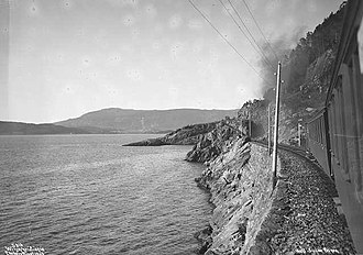 Nordland Line - The line following the Trondheimsfjord past Muruvik in 1906
