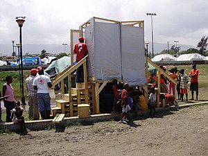 Emergency sanitation - Emergency toilet in Haiti, suitable for areas where digging pit latrines is not possible