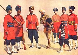 11th Rajputs - Soldier of the regiment (second from right) with other British Indian Army Rajput troops