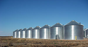 Silo - Steel grain silos in Ralls, Texas, United States.