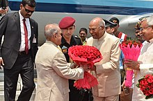 H.E the Governor of Bihar Shri Ram Nath Kovind welcoming Hon'ble President of India Shri Pranab Mukherjee at Patna on April 17, 2017