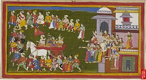 Kausalya - Rama, his wife and brother, dressed in the clothes of bark that Kaikeyi has made them put on, ride off in a chariot driven by Sumantra and surrounded by the townspeople. Dasaratha emerges from his palace and goes through the gate of the city surrounded by his queens. Dasaratha and Kausalya according to Valmiki's text hurry after the chariot until Rama, unable to bear the sight, has to tell Sumantra to quicken his pace so that they would be left behind.