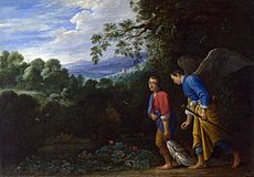 Raphael and Tobias, after Adam Elsheimer, c1610. The Archangel appears in nearly normal clothes; there is even the suggestion of trousers