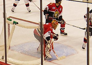 Ray Emery - Emery in goal against the New Jersey Devils in the 2007 playoffs.