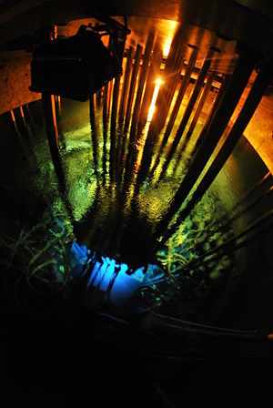 Maria reactor - Cherenkov radiation viewed in the interior of the Maria reactor